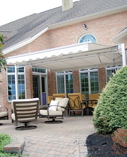free standing awning on patio